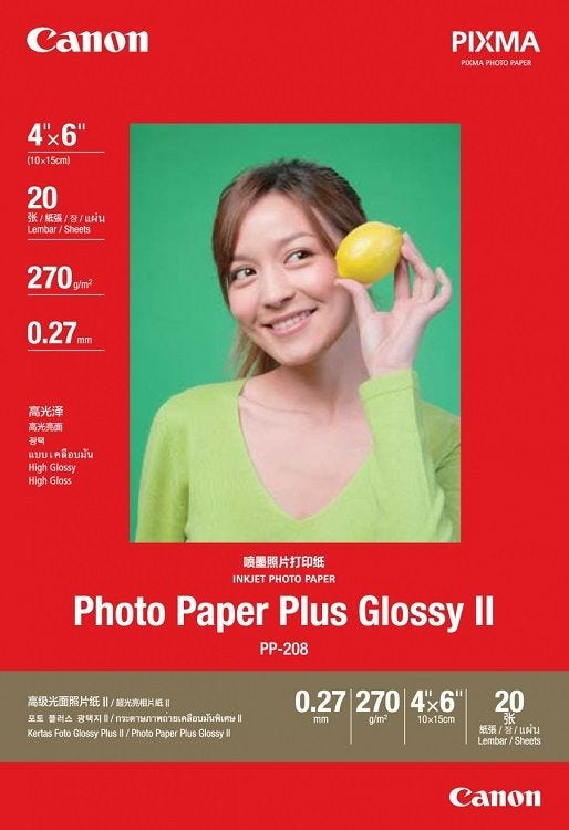 "Canon PP-208 4 X 6"" (20 shts) Photo Paper Plus Glossy II"