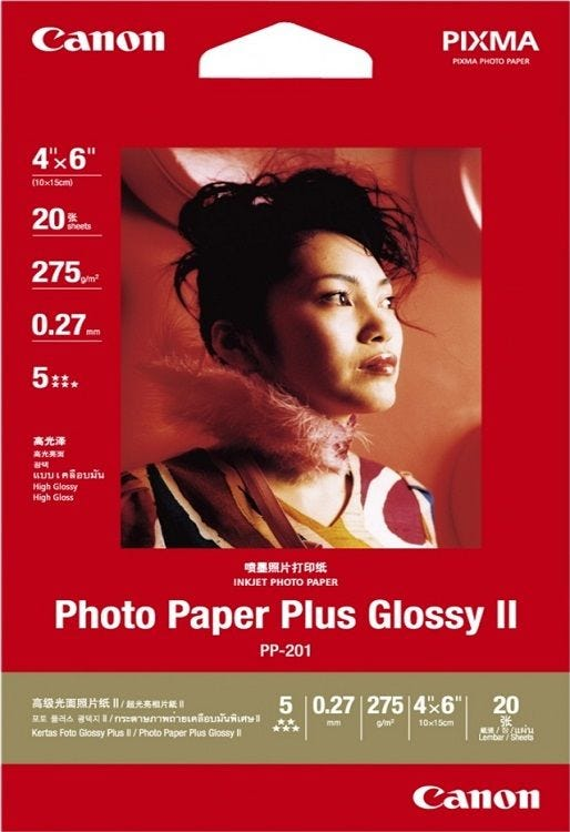 "Canon PP-201 4""X6"" Photo Paper Plus Glossy (20 sheets)"