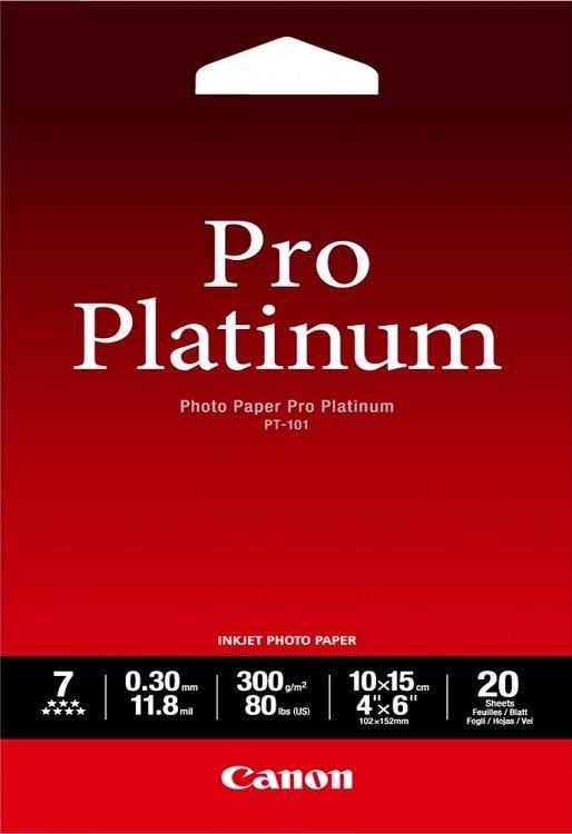 """Canon PT-101 4""""X6"""" Photo Paper Pro Platinum (20 sheets)"""