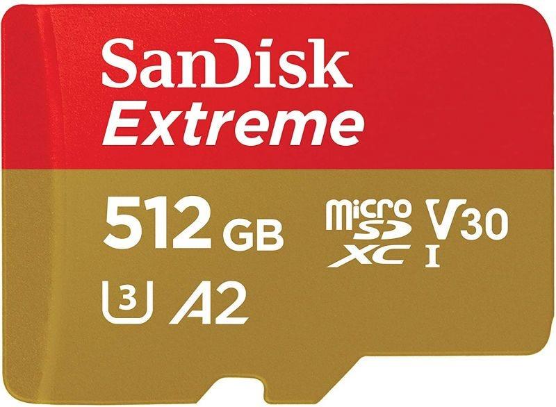 SanDisk MicroSD Extreme V30 U3 UHS-I C10  A2 - 512GB