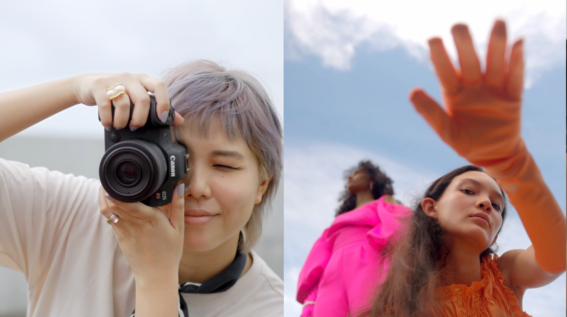 Fashion Photographer Lenne Chai with her eye to Canon EOS R5's viewfinder]