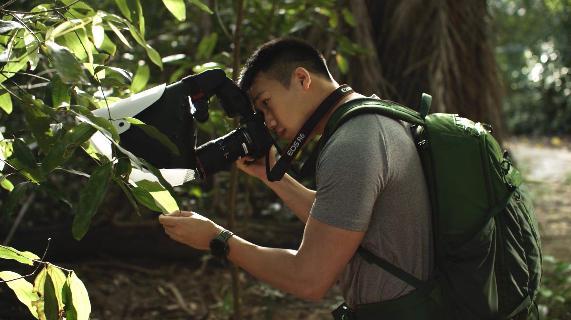 Lenz Lim shooting a garden spider on a big leaf